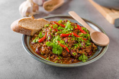 Delicious chilli con carne stock photos