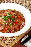 Delicious Chinese food cold dish- hot pepper goose. Liver with beautiful background in studio Stock Photography