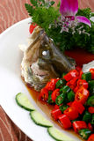 Delicious Chinese food fried dish - Steamed fish Stock Image