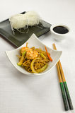 Delicious Chinese noodles with shrimps Royalty Free Stock Photography