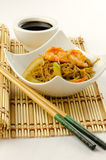 Delicious Chinese noodles with shrimps Stock Image