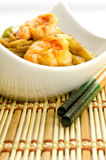Delicious Chinese noodles with shrimps Royalty Free Stock Photo