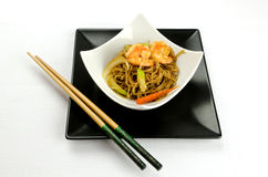 Delicious Chinese noodles with shrimps Royalty Free Stock Photos