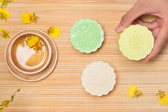 Delicious Chinese Traditional Snack Mooncake on the Table. Stock Image