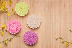 Delicious Chinese Traditional Snack Mooncake on the Table. Stock Photos