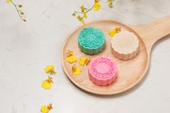 Delicious Chinese Traditional Snack Mooncake on the Table. Royalty Free Stock Photo