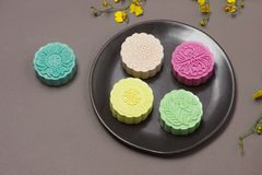 Delicious Chinese Traditional Snack Mooncake on the Table. Royalty Free Stock Image