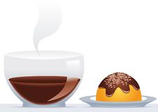 Delicious Chocolate. Delicious double chocolate cake and cup Stock Image