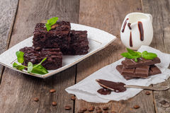 Delicious chocolate brownie Stock Images