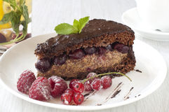 Delicious Chocolate cake with berries Stock Photography