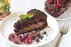 Delicious Chocolate cake with berries Royalty Free Stock Images