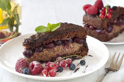 Delicious Chocolate cake with berries Stock Image