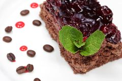 Delicious chocolate cake with cherries Royalty Free Stock Photography