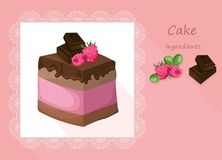 Delicious chocolate Cake collection decor Vector illustration Stock Photography