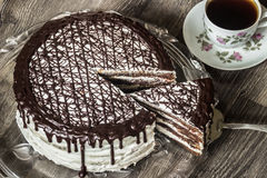 Delicious chocolate cake with creamy cream with coffee Royalty Free Stock Images