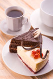 Delicious chocolate cake and cup of coffee Stock Photography