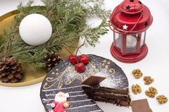 Delicious chocolate cake decorated cherries and nuts stock photo
