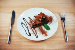 Delicious chocolate cake with hazelnuts Royalty Free Stock Photography