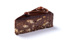 Delicious chocolate cake isolated Royalty Free Stock Photography