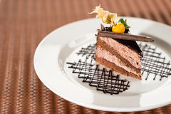 Delicious chocolate cake with physalis Royalty Free Stock Photo