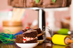 Delicious chocolate cake pieces with cream filling sitting on small plates, pastry concept Royalty Free Stock Photo