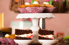 Delicious chocolate cake pieces with cream filling sitting on small plates, pastry concept Stock Photography