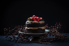 Delicious chocolate cake with strawberry and cheese cream Royalty Free Stock Images