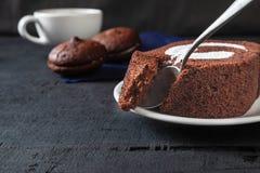 Delicious chocolate cake stock image