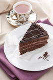 Delicious chocolate cake and tea Stock Image
