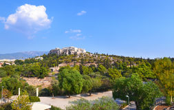 Acropolis view Athens Greece. Acropolis view as seen from Thissio Athens Greece Royalty Free Stock Photos