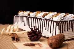 Delicious chocolate cake with whipped cream and walnut. On a festive table with Christmas decorations, fir cones, cinnamon sticks and a greeting card on black Stock Image