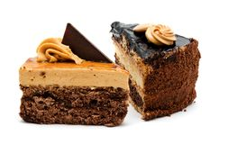 Delicious chocolate cakes pastry with peanut and cream isolated Stock Photography