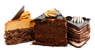 Delicious chocolate cakes pastry with peanut and cream isolated Stock Image