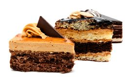 Delicious chocolate cakes pastry with peanut and cream isolated Royalty Free Stock Image
