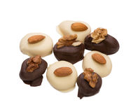 Delicious chocolate candies with nuts Stock Image
