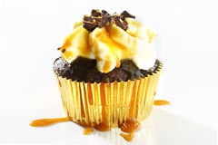 Delicious chocolate-caramel cupcake Royalty Free Stock Photography
