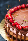 Delicious chocolate and cherry cheesecake dessert decorated with Stock Photo