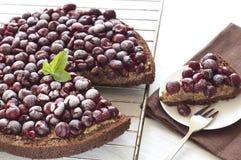 Delicious chocolate cherry tart Stock Photos
