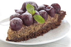 Delicious chocolate cherry tart Stock Photography
