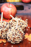 Delicious Chocolate Chip Carmel Apples Stock Photo