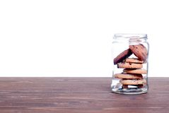 Delicious chocolate chip cookies on the board side view Royalty Free Stock Images