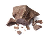 Delicious chocolate chunks. On white background Stock Photography