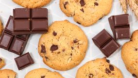 Delicious chocolate cookie. Top view Royalty Free Stock Image