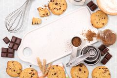 Delicious chocolate cookie. Top view Stock Images