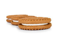 Delicious chocolate cookies with cream Stock Photos