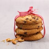 Delicious chocolate cookies. And bow Royalty Free Stock Photo