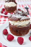 Delicious chocolate and cream muffins Royalty Free Stock Photography