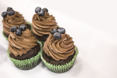 Delicious chocolate cupcakes with buttercream and fruits Stock Photo