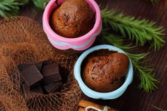 Delicious chocolate cupcakes with cinnamon on the table Stock Photography