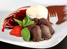 Delicious chocolate dessert. With ice cream Stock Images